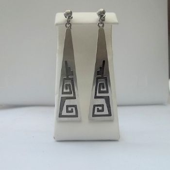 Hopi Style Earrings with Geometric Etching